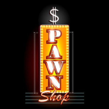 pawn shop: easy to edit vector illustration of Neon Light signboard for Pawn Shop