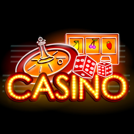 easy to edit vector illustration of Neon Light signboard for Casino