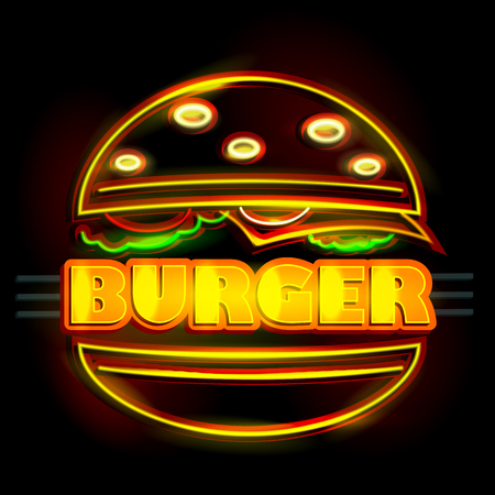 easy to edit vector illustration of Neon Light signboard for Burger Illustration