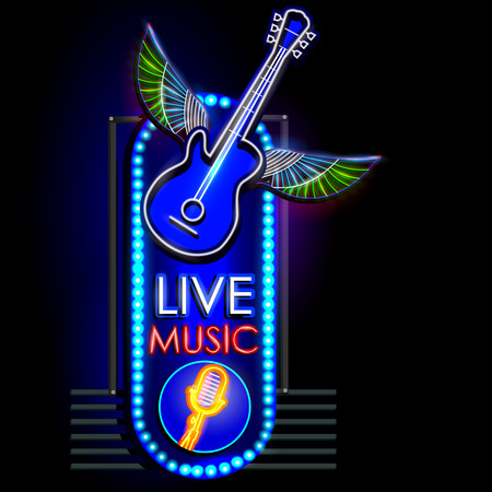 live music: easy to edit vector illustration of Neon Light signboard for Live Music