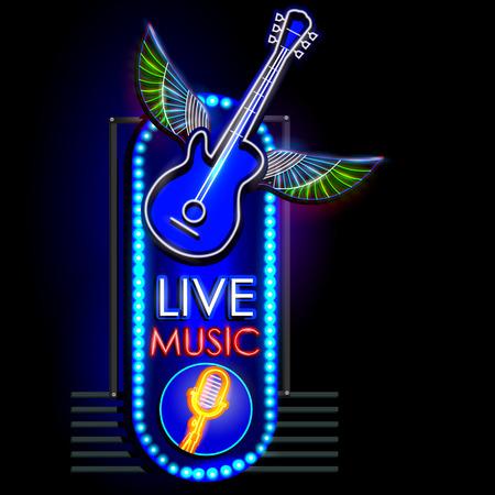 facile à modifier illustration vectorielle de signboard Neon Light Live Music Vecteurs