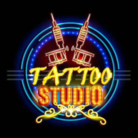 parlor: easy to edit vector illustration of Neon Light signboard for Tattoo Studio