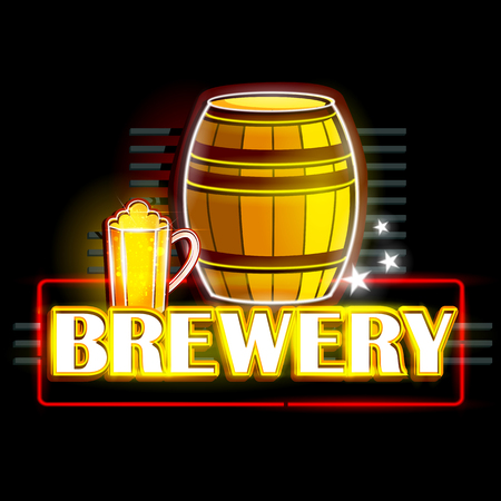 brewer: easy to edit vector illustration of Neon Light signboard for Brewery