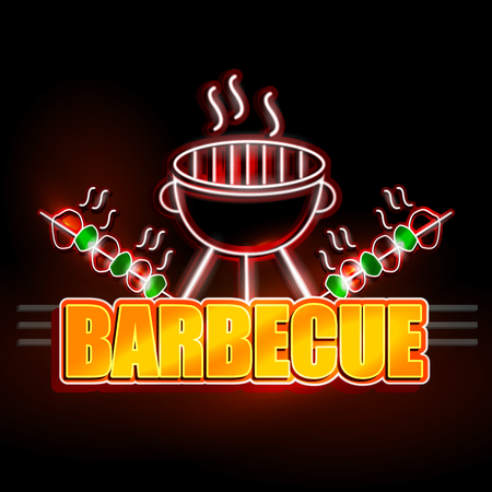 easy to edit vector illustration of Neon Light signboard for Barbecue