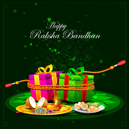 thali: easy to edit vector illustration of Raksha bandhan background for Indian festival celebration