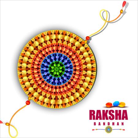 raksha bandhan: easy to edit vector illustration of Raksha bandhan with candy background for Indian festival celebration