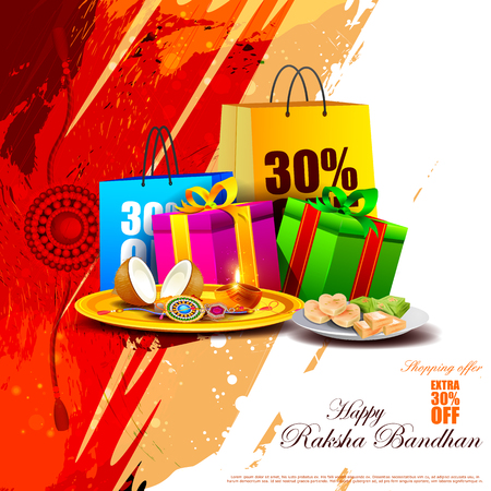 auspicious occasions: easy to edit vector illustration of Raksha bandhan shopping Sale promotion background for Indian festival