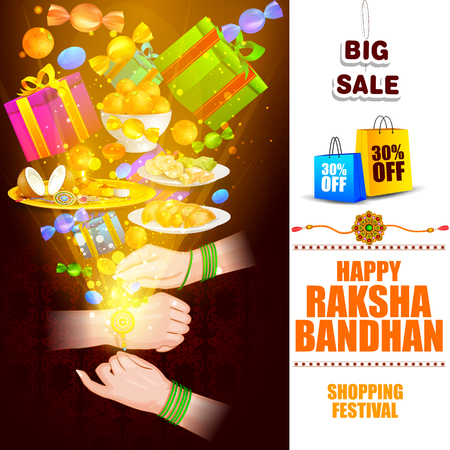raksha: easy to edit vector illustration of Raksha bandhan shopping Sale promotion background for Indian festival