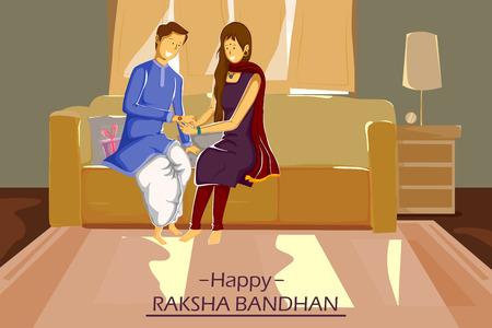 rakhi: Brother and Sister tying Rakhi on Raksha Bandhan in vector Illustration