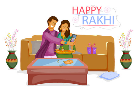 auspicious occasions: Brother and Sister tying Rakhi on Raksha Bandhan in vector Illustration