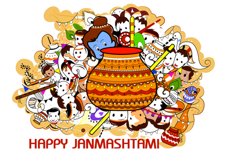 easy to edit vector illustration of Happy Krishna Janmashtami doodle background