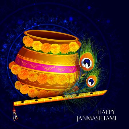 mahabharata: easy to edit vector illustration of Happy Krishna Janmashtami Dahi Handi meaning cream and pot background