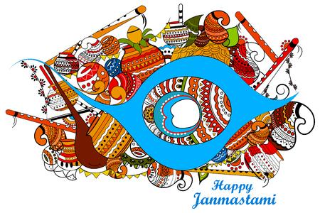 epic: easy to edit vector illustration of Happy Krishna Janmashtami doodle background