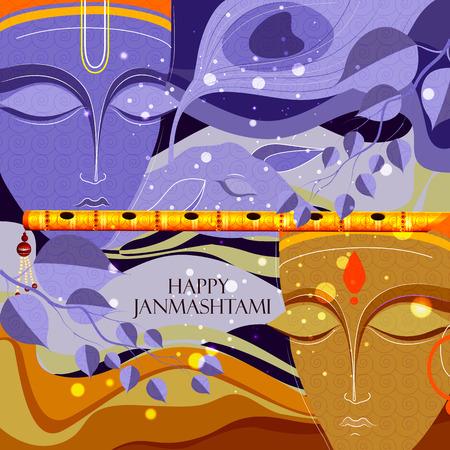 mahabharata: easy to edit vector illustration of Happy Krishna Janmashtami background Illustration