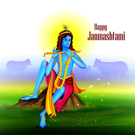 easy to edit vector illustration of Happy Krishna Janmashtami background Illustration