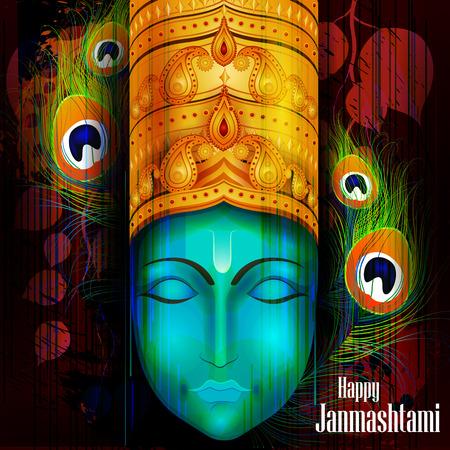 easy to edit vector illustration of Happy Krishna Janmashtami background Illusztráció