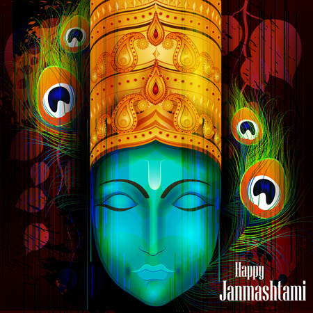 easy to edit vector illustration of Happy Krishna Janmashtami background Illustration
