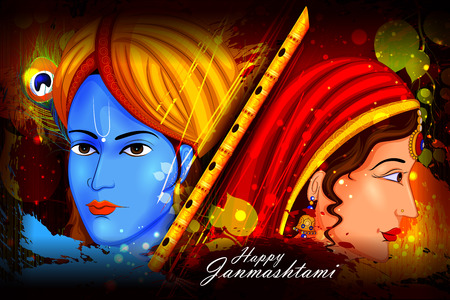 lord krishna: easy to edit vector illustration of Lord Krishna and Radha on Happy Janmashtami background