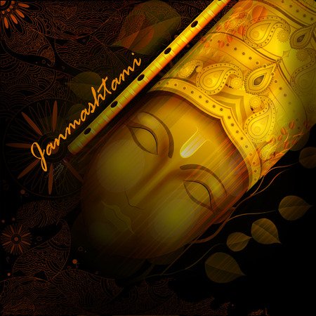 krishna: easy to edit vector illustration of Happy Krishna Janmashtami background Illustration