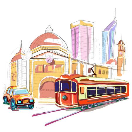 melbourne: easy to edit vector illustration of Australia cityscape