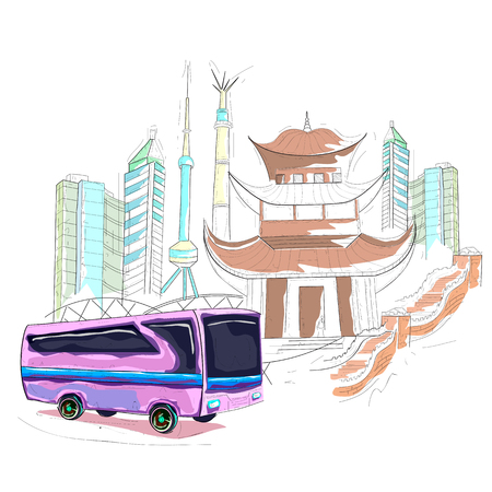 easy to edit vector illustration of China cityscape