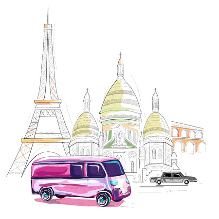 easy to edit vector illustration of France cityscape