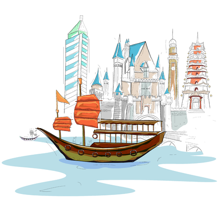 easy to edit vector illustration of Hong Kong cityscape 일러스트