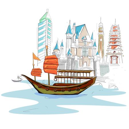 easy to edit vector illustration of Hong Kong cityscape Vettoriali