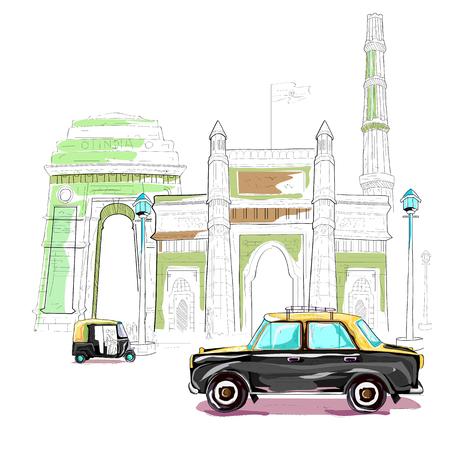 qutub minar: easy to edit vector illustration of India cityscape
