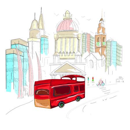 irish cities: easy to edit vector illustration of Ireland cityscape