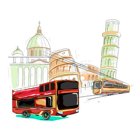 attraction: easy to edit vector illustration of Italy cityscape Illustration