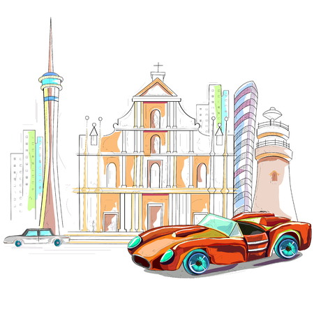 taxi: fácil de editar ilustración vectorial de Macau paisaje urbano