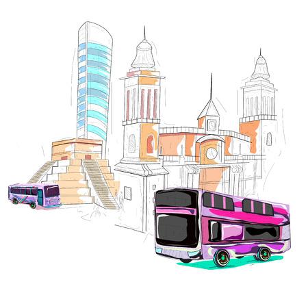 itza: easy to edit vector illustration of Mexico cityscape