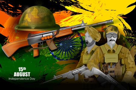 hindustan: easy to edit vector illustration of Soldier on  Indian Independence Day celebration background