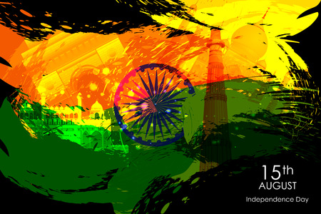 qutub minar: easy to edit vector illustration of Monument and Landmark on Indian Independence Day celebration background
