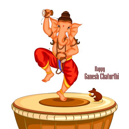 hinduismo: fácil de editar ilustración vectorial de fondo Feliz Ganesh Chaturthi con el Señor Ganpati bailando en el tambor Vectores