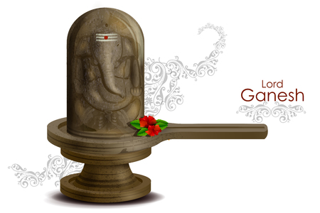 devotion: easy to edit vector illustration of Lord Ganesha on embossed in Shivling