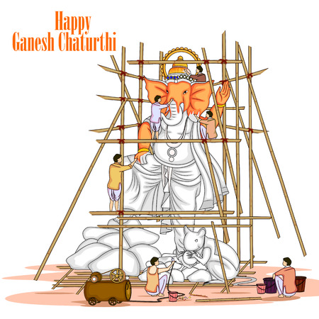 ganpati: easy to edit vector illustration of artist making statue of Lord Ganpati for Ganesh Chaturthi Illustration
