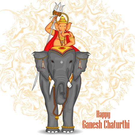 easy to edit vector illustration of Lord Ganpati riding on elephant for Ganesh Chaturthi background Vettoriali