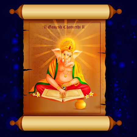 ganapati: easy to edit vector illustration of Lord Ganpati writing book of account on Ganesh Chaturthi background