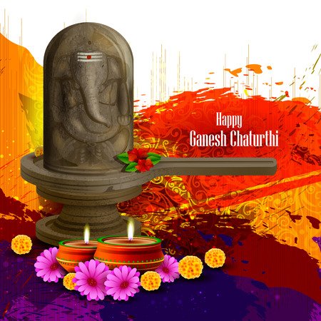 shivling: easy to edit vector illustration of Lord Ganesha on embossed in Shivling