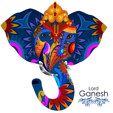 ganesh: fácil de editar ilustración vectorial de Señor Ganpati en el fondo Ganesh Chaturthi Vectores