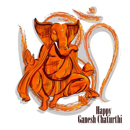 easy to edit vector illustration of Lord Ganpati on Ganesh Chaturthi background Stock Illustratie