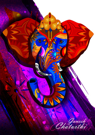 ganpati: easy to edit vector illustration of Lord Ganpati on Ganesh Chaturthi background Illustration