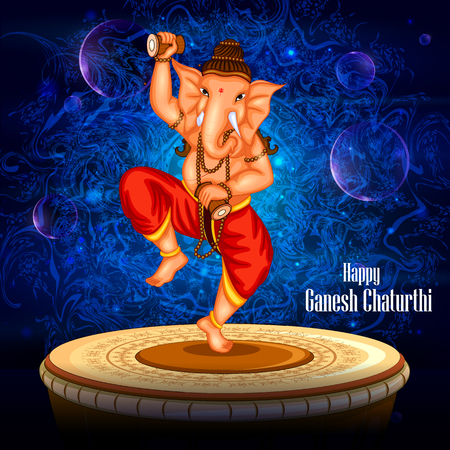 ganapati: easy to edit vector illustration of Happy Ganesh Chaturthi background with Lord Ganpati dancing on drum