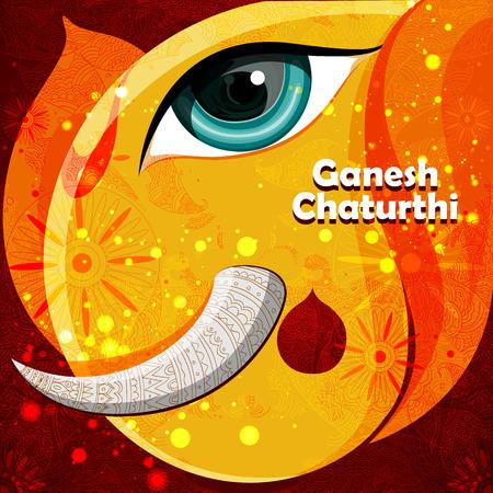 devotion: easy to edit vector illustration of Lord Ganpati on Ganesh Chaturthi background Illustration