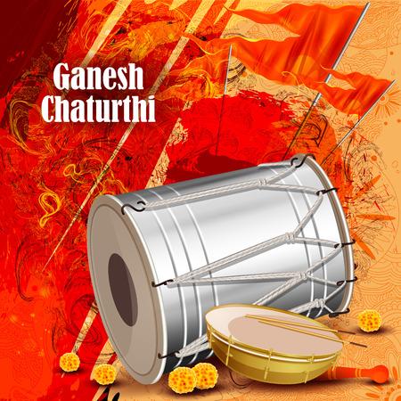 easy to edit vector illustration of Lord Ganpati on Ganesh Chaturthi background Векторная Иллюстрация