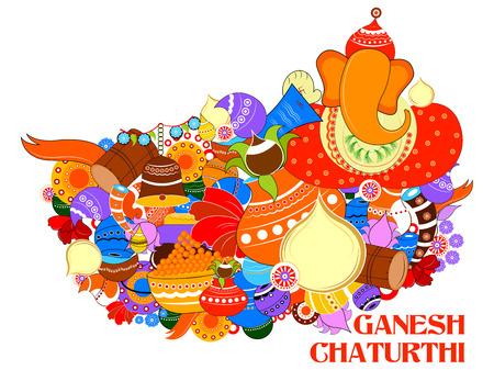 blessing: easy to edit vector illustration of Happy Ganesh Chaturthi background Illustration