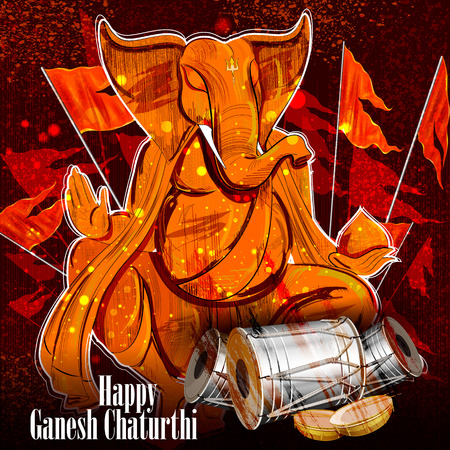 easy to edit vector illustration of Lord Ganpati on Ganesh Chaturthi background 矢量图像