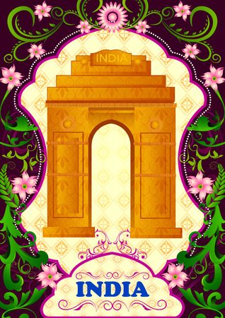 incredible: Floral background with India Gate showing Incredible India in vector